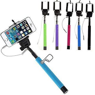 Selfie Stick With Aux Cable Wired Self Portrait Mini Monopod Holder (Assorted Color)