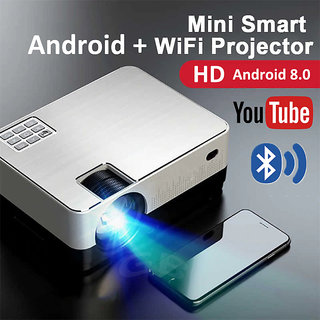 Android Projector Wifi + Bluetooth and 4K, 3D support - Ultra Clear Large Display. HD Home Theater, Office Presentation