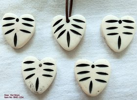 5 Pcs Genuine Natural Horn Bone Hand-Carved Pendant Jewellery Beads Charms 19x19mm Gifts