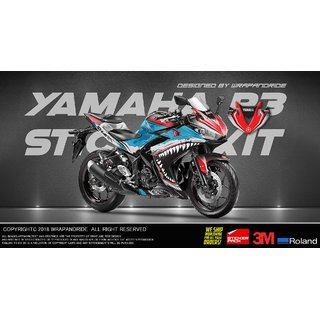 Yamaha R3 Shark Edition Full Body Wrap Decal Sticker Kit