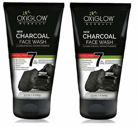 Oxyglow Herbal Charcoal Face Wash For All Skin Type, 100ml Pack-2