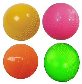 Madurai Products Strong Plastic Cricket Ball size for Indoor and Outdoor Games - 4 pieces.