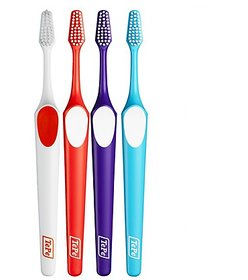 Tepe Supreme Soft Pack Of 4 Toothbrush (Red,White,Purple,Blue)Unique Two-level Filament (With One Free Travel Pouch)