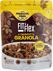Fit  Flex Baked Granola  Choco, Almond  Cookies  Oat Rich Cereal  Ready to Eat Healthy Breakfast Food - 450g
