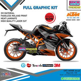 KTM RC 125/200/390 Full Modified Body Wrap / Decal / Sticker Black Orange