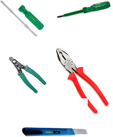 TAPARIA Combination Pliers 210mm/2 in 1 Screw Driver/Wire Stripper/Screw Driver Tester (Set of 4)