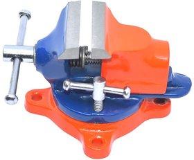 Scorpion Table Baby Vice Swivel Base 50 mm (2 inch) Cast Iron - Professional Swivel Base Table Vice - Color Orange  Blu
