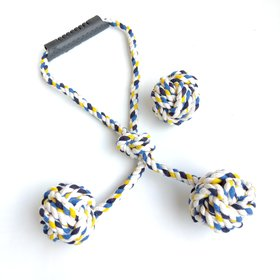 THE PAWXI Dogs Cotton Rope Toy for Playing and for Teeth Cleaning and Chewing (Combo of 2, Color- Assorted)