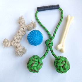 THE PAWXI Dog Spike Ball, Dog Bone and Rope Toy for Activity and Chewing (Combo of 4)