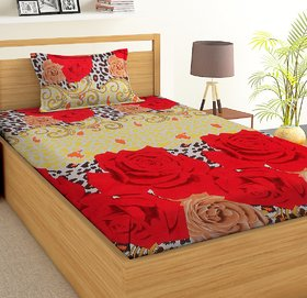 HOME BERRY Singal Bedsheet With One Pillow Cover
