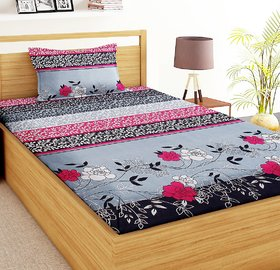 Home Berry Single Bedsheet With One Pillow Cover