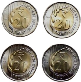 Republic India Newly Issued Series 2020 - 20 Rupees Unc Coin-Pack of 4 Coins