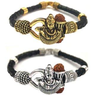 Jewelswonder Mahadev Shiv Ji Bracelet With Rudraksha Silver and Gold Colour Leather Kada For UNISEX