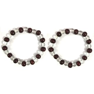 Jewelswonder Red Sandalwood/lal Chandan with Crystals Bracelet for Unisex  (Pack of 2)