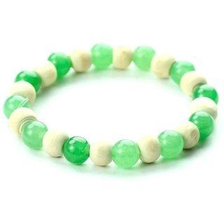 Jewelswonder Green Aventurine Bracelet with Tulsi (Color : Green,White) For UNISEX (Lab Certified)