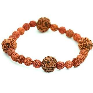 Jewelswonder Pure Five faced Rudraksha (5 Mukhi) Bracelet For Good luck & Peace of Mind (Lab Certified)