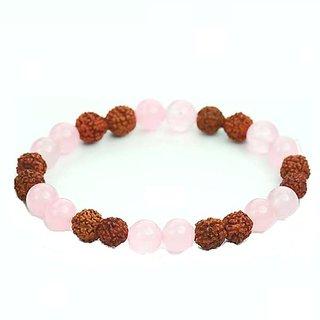 Jewelswonder Original Rudraksha bead With Rose Quartz Bracelet For Good Health (Lab Certified)