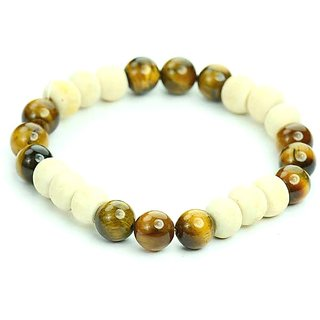 Jewelswonder Tulsi with Tiger Eye Healing Bracelet For Men and Women (Lab Certified)