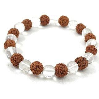 Jewelswonder Latest Rudraksha and Crystal Bracelet For Men&Women (Lab Certified)