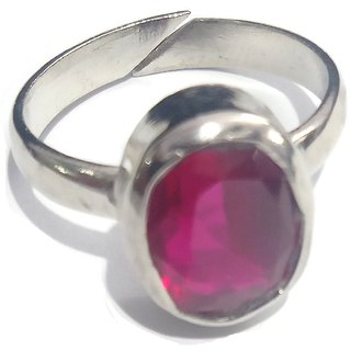 Jewelswonder 6 - 7 Carat Gemstone Panchdhatu Silver Plated Ruby Ring  Adjustable for Unisex (Lab Certified)-3774