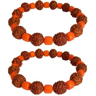Jewelswonder Rudraksha Stylish Stone Bracelet for Unisex (Lab Certified) (Pack of 2)