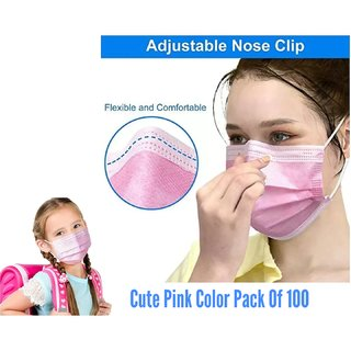 3 PLY SURGICAL FACE MASKS PACK OF 100 PIECE WITH NOSE PIN ANTI POLLUTION FACE MASKS ANTI DUST MASKS