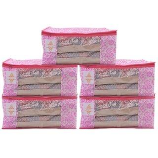 saavi creation designer foldable pink flower print saree cover/saree bag/storage box set of 5 pcs 9 inches height combo
