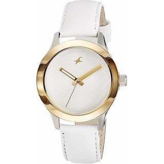Fastrack Women Monochrome Analog White gold Dial Watch -NL6078SL02