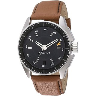 Fastrack NM3089SL02 Men Analog Round Black Dial Watch
