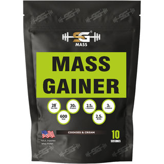 SG Mass Gainer Protein Powder, Vitamin C, Calcium and Vitamin D for Immune Support (cookies  cream, 1.5kg)