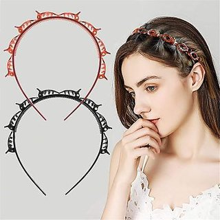 IQ TECH  Double Layer Twist Headband / Hairpin Double Bangs Hairstyle Hair Tools Pack of 1 ( Assorted Color)