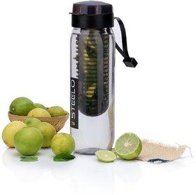 Steelo Plastic Fruit Infuser Bottle, 750ml, Black