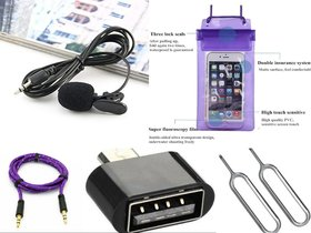 Combo of Collar Mic Waterproof Mobile Pouch Aux Cable OTG And 2 SIM Ejector Pin by Lazywindow