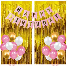 Blooms Mall 33 Pcs Super Combo Happy Birthday Banner + Gold Fringe Curtain + Pink,white and gold Metallic Balloons