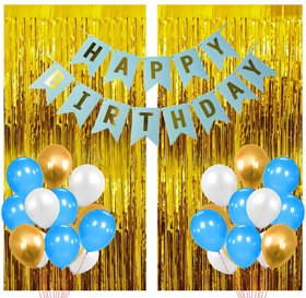 Blooms Mall 33 Pcs Super Combo Happy Birthday Banner + Gold Fringe Curtain + Blue, white and gold Metallic Balloons