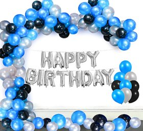 Blooms Mall 101 Pcs Wonderful Combo Happy Birthday Letter Foil Balloon  + Blue, Black and Silver Metallic Balloons