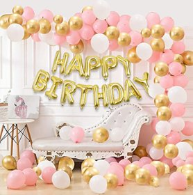 Blooms Mall 101 Pcs Wonderful Combo Happy Birthday Letter Foil Balloon  + Pink, White and Golden Metallic Balloons