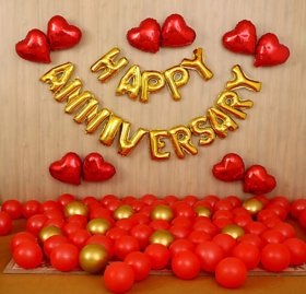 Blooms Mall 69 pcs Romantic Combo  Happy Anniversay Letter foil balloons + Mettaliic Balloons + Special Heart shape Ball