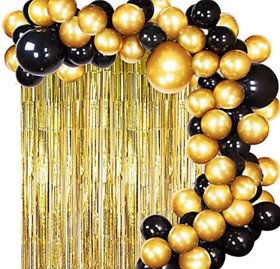 Blooms Mall 102 Luxuries Decoration Combo  Golden Fringe Curtains +Black and Golden Metallic Balloons