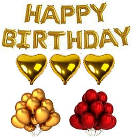 Blooms Mall 49 pcs surprise Combo  Happy Birthday Letter foil balloons +  heart shape Foil Balloons + Metallic Balloons