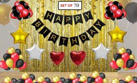 Blooms Mall 70pcs  Birthday Celebration Combo  Happy birthday Banner + Multi Metallic Balloons + Theme foil Balloons and