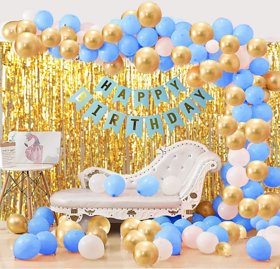 Blooms Mall Creative 63 Pcs Combo Happy Birthday  Banner , Golden Fringe Curtain + BlueWhite and Gold Metallic Balloon