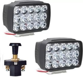 Eshopglee 15 Led Fog Lamp Combo 2 Lights +1 Universal Pull Push On / Off Switch