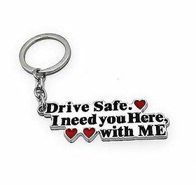 Drive Safe Metal Keychain (Silver/Black)