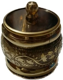 Traditional Handmade Brass Round Kumkum/Sindoor Box for Utility  Gift(1.5 inchGolden)