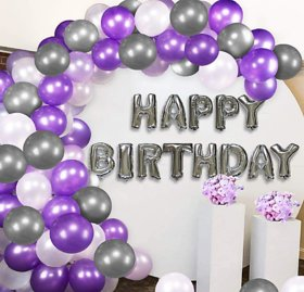 Blooms Mall Elegant 31 Pcs Combo Happy Birthday Letter foil Balloon  + Purple,Silver and white Metallic Balloons