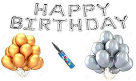 Blooms Mall 52 pcs Combo Happy Birthday Letter Foil Balloon+ Balloons pump + Golden and silver Metallic Balloons