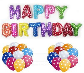 Blooms Mall Colorful 51 pcs Combo Happy Birthday Foil Letter Balloon +  Mettalic Balloons