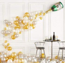 Blooms Mall Trippy 91 pcs Champagne Combo  Theme ,Mettallic Balloons +Champagne shape foil Balloon.