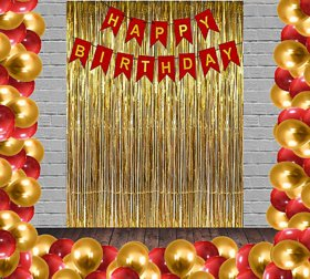 Blooms Mall Standard 53 Pcs Combo Happy Birthday  Banner  + Golden Fringe Curtain  + Red and Golden Metallic Balloons